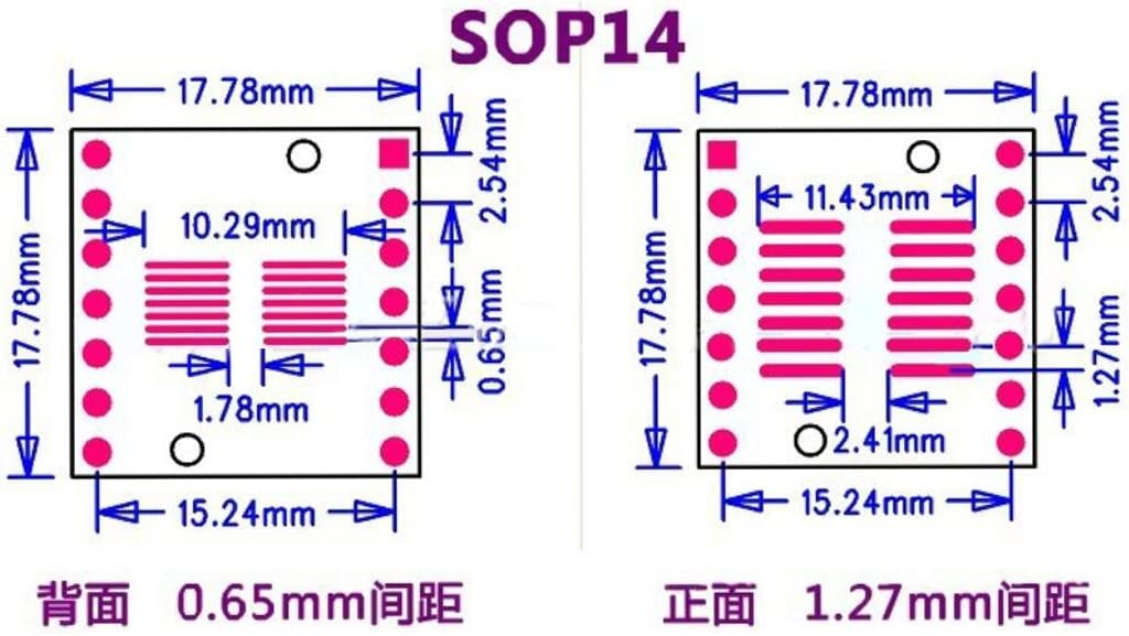 SSOP 14PIN 0.65 SOP 14PIN 1.27 to DIP Adapter PCB Board SMD Converter 20pcs