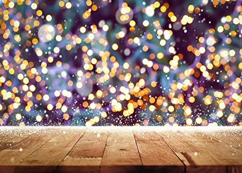 DODOING 7x5FT Photography Background Children Wood Wall Sparkle Glitter Bokeh Yellow Spots Shining Photography Backdrops for Photo Studio Props by DODOING (Image #3)
