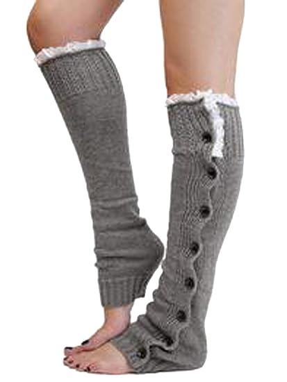 homedecoam Mujeres rodilla punto plano botón abajo ganchillo encaje calentadores de piernas calcetines para botas Gris gris: Amazon.es: Ropa y accesorios