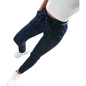 Logobeing Pantalones a Rayas con Cintura Alta para Mujer Jeans ...