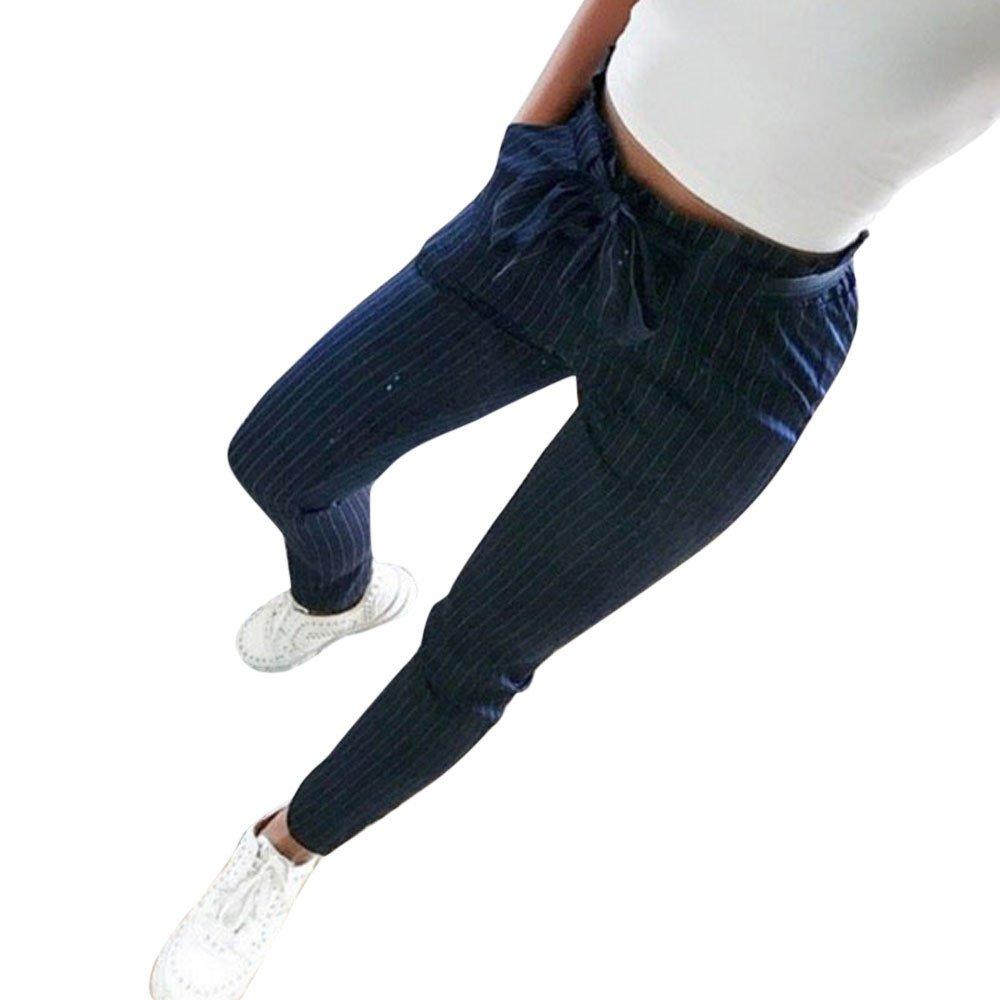 Pantalons Femme Grande Taille Haute Pas Cher Elastique Mode Chic Slim Casual ÉTé Crayon Legging Pants Trousers Longue Rayures Coton DéContractéE avec Kangrunmyceinture