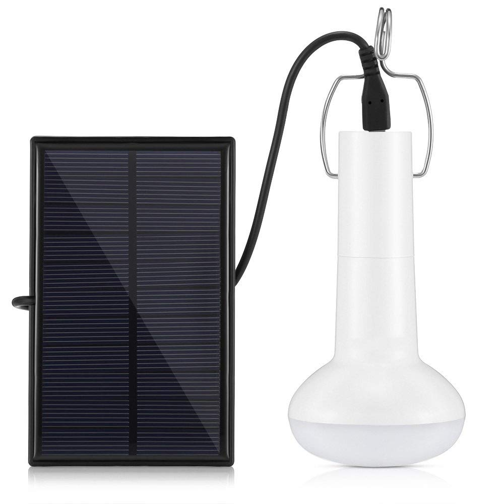 YsinoBear Portable Solar LED Bulb Lights Solar Powered Chicken Coops Light with Solar Panel for Camping Tent Fishing Hiking Chicken Coop Shed Lighting(120LM 1200mAh) Outdoor Lighting