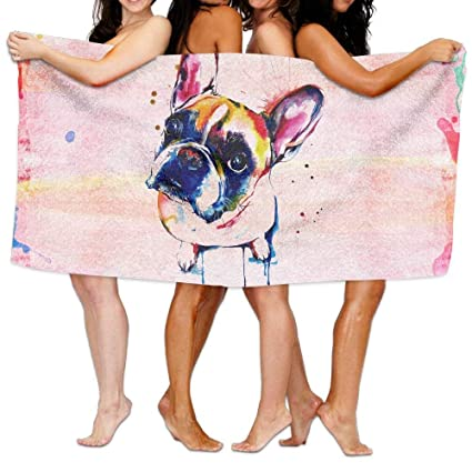 jinhua19 Toallas de Playa baño French Bulldog Bath Towel Colorful Beach/Bath/Pool Towel