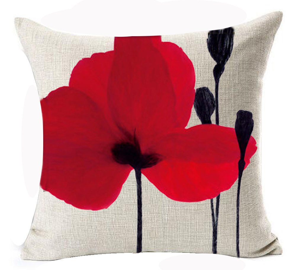 Beautiful Charming Watercolor Oil Painting Red Poppy Sweetheart Cotton Linen Throw Pillow Case Cushion Cover Home Office Indoor Decorative Square 18 X 18 Inches Andreannie Andreannie-3138