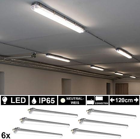 8er Set 36W SMD LED Wannen Leuchte Industrie Decken Lampe Feucht Raum L 120 cm