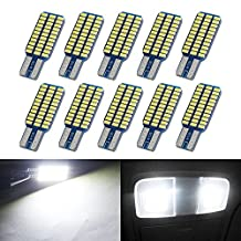Boodled 10-Piece T10 Canbus 33-SMD 3014 White LED Bulb for W5W 194 168 2825 Car Side Wedge Light Error Free (10xT10-3014-33-W-JM)