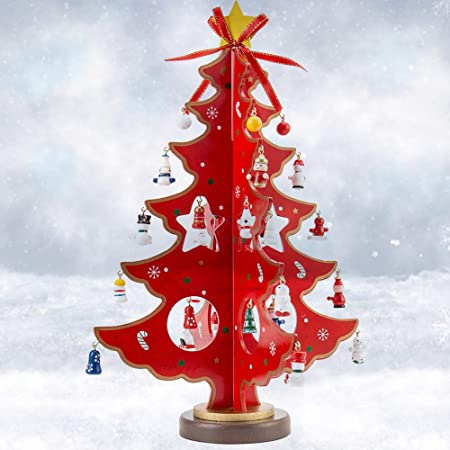 Wooden Tabletop Christmas Tree With Ornaments 14inch Mini Small Desk Xmas Tree Christmas Decorations Indoors Home Red