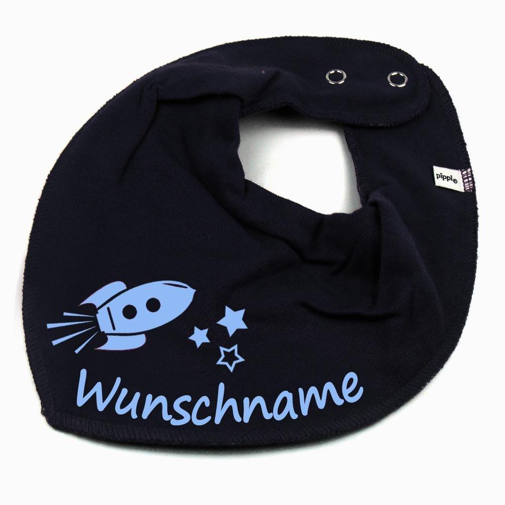 HALSTUCH Rakete mit Namen oder Text personalisiert dunkelblau f/ür Baby oder Kind