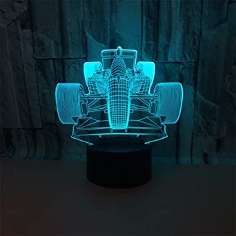 3D Illusion Nachtlicht für Kinderzimmer 7Farbe Formel 1Auto Race Table LED Lampe