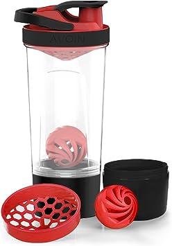 AVOIN colorlife Botella Proteína Agitadora con Mixball y 200cc Almacenamiento de 720ml, con bola espiral, caja de transporte de 200 ml, sin BPA