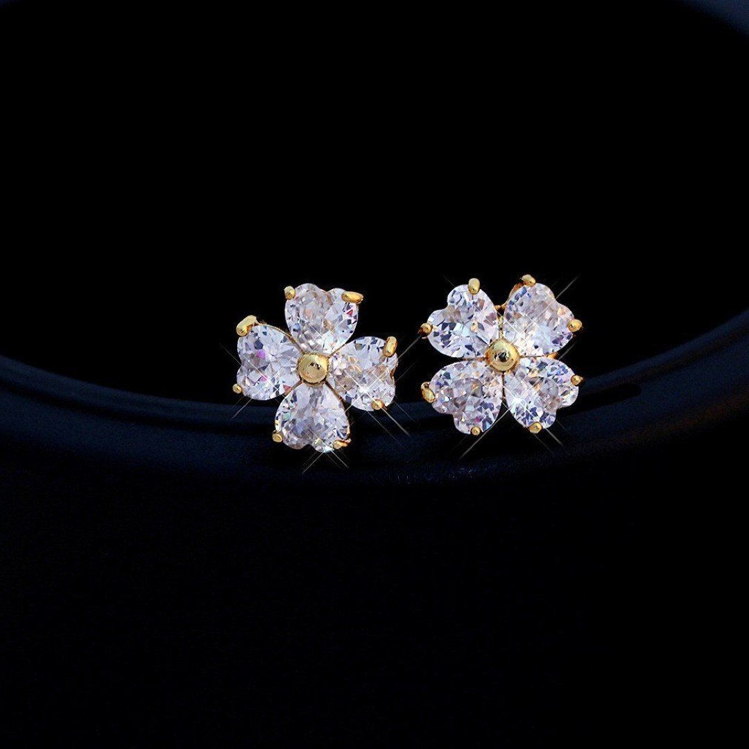 CS-DB Yellow Gold Filled Fashion Flower Crystal Clover Stud Earrings