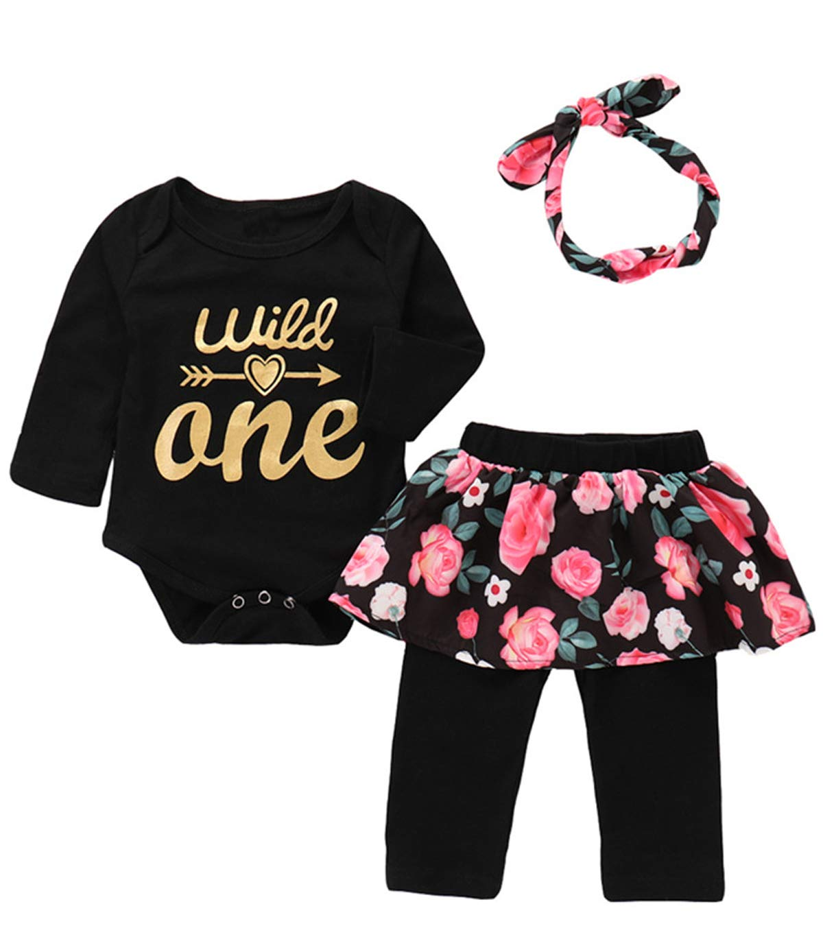 3Pcs Outfit Set Baby Girls Wild One Floral Pant Clothing Set (Black02 Wild One, 6-12 Months)