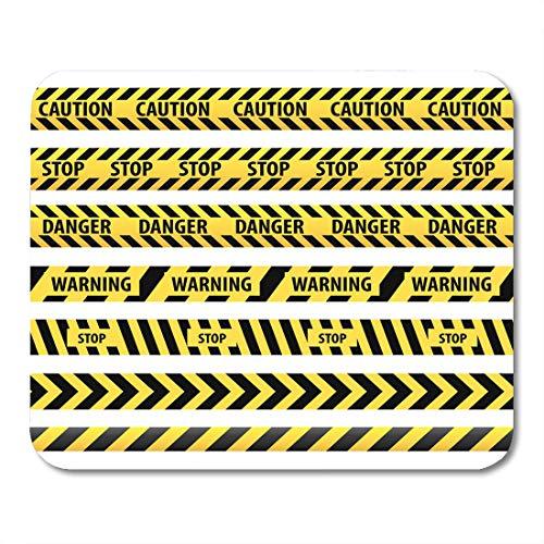 Nakamela Mouse Pads Safety Black Ribbon Tape Caution Danger Yellow Police Line Warning Orange Strip Construction Mouse mats 9.5