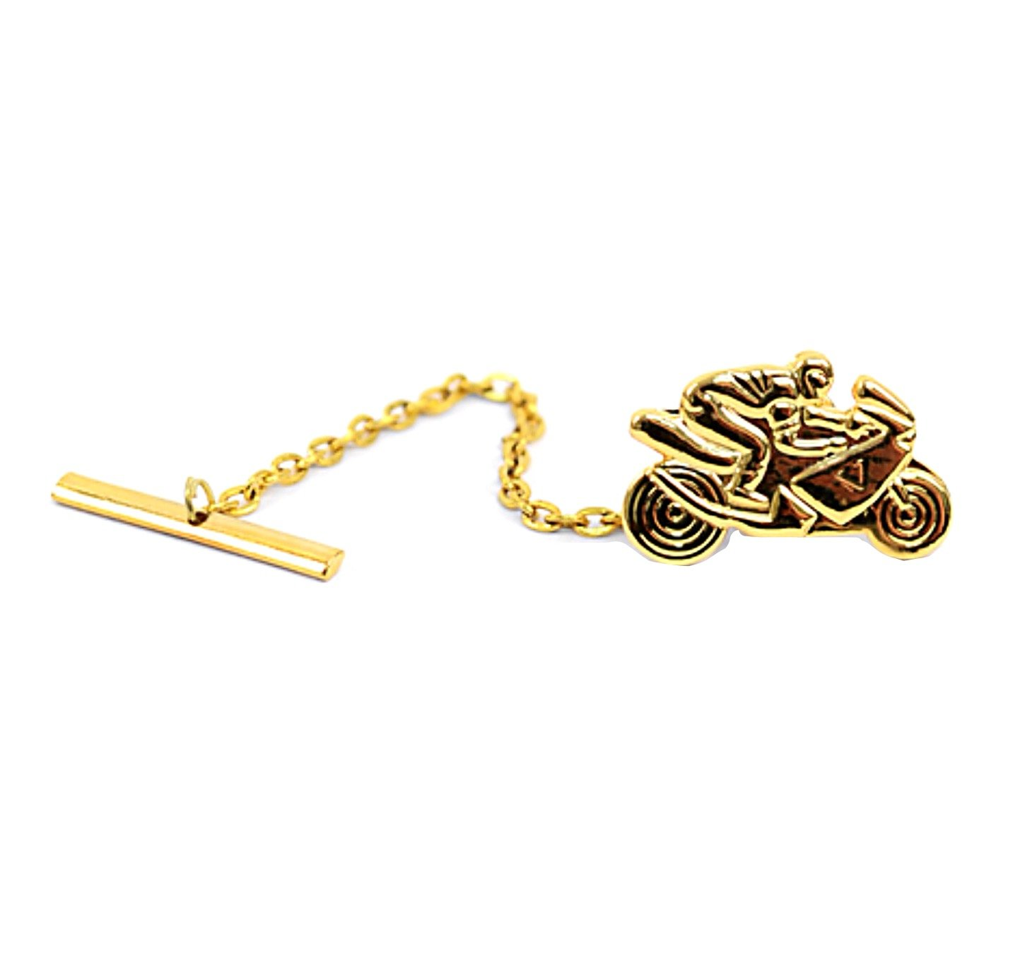Umo Lorenzo Mens Motorcycle Novelty Tie Tack Pin for Bikers (Gold)