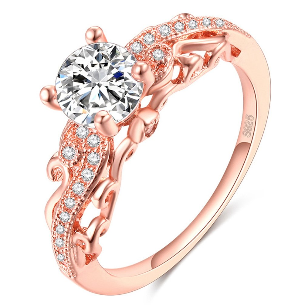 FENDINA Women's Vintage Filigree Rose Gold Plated Solitaire CZ Wedding Engagement Rings (10)