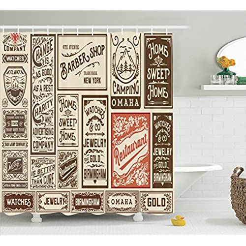 Vintage Shower Curtain Retro Decor By Ambesonne, Mega Pack Old  Advertisement Designs And Labels Collections Newspaper Nostalgia Art Print,  Fabric Bathroom ...