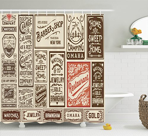 Ambesonne Brown Shower Curtain Vintage Decor, Mega Pack Old Advertisement Designs and Labels Collections Newspaper Nostalgia Image, Polyester Fabric Bathroom Set with Hooks, 69W x 70L inches, Ivory