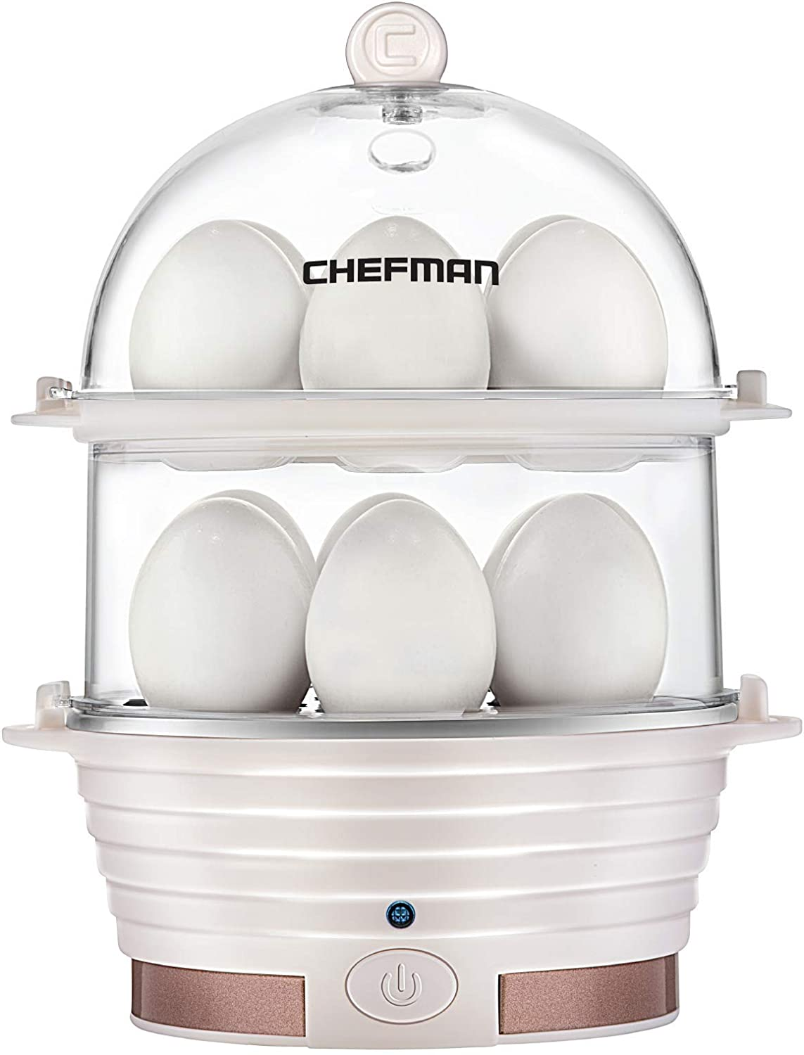 Chefman Electric Egg Cooker Boiler, Rapid Egg-Maker & Poacher, Food & Vegetable Steamer, Quickly Makes 12 Eggs, Hard or Soft Boiled, Poaching and Omelet Trays Included, Ready Signal, BPA-Free, Ivory (Renewed)