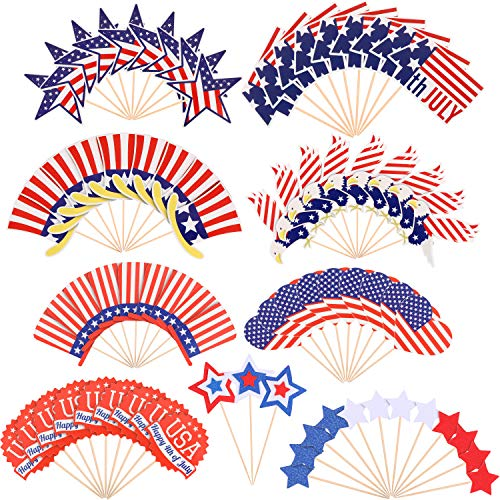 78 Pieces Independence Day Cupcake Toppers Patriotic American Flag Cake Topper Toothpicks Decorations