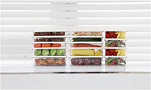 Kitchen Refrigerator Organizer, Fridge and Freezer Storage, Food Containers with Lids M2(4P)+L1(6P)+L2(4P) Total 14P Extended Set C