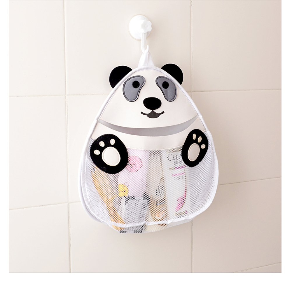 OWNFUN Bath Toy Animal Organizer - Bathroom Toy Mesh Net - Baby Toy Storage Holder with Heavy Duty Strong Suction Cup - Bathtub Shower Caddy Bag for kids & Toddlers, Mold Resistant, Panda