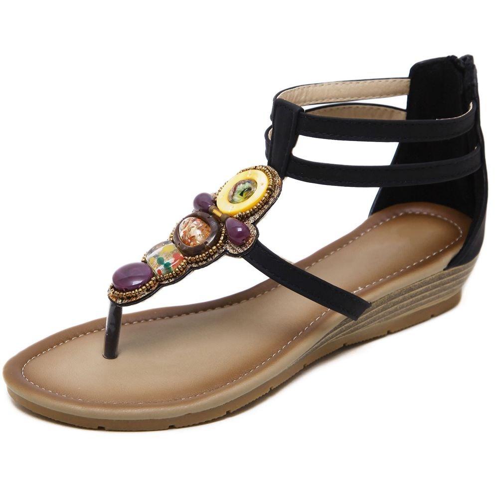 KingRover Women's Thong Wedge Heel Zip Sandals T-Strap Bohemian Rhinestone Slip On Flip Flops Shoes B07BNF842N 6 B(M) US|1 Black