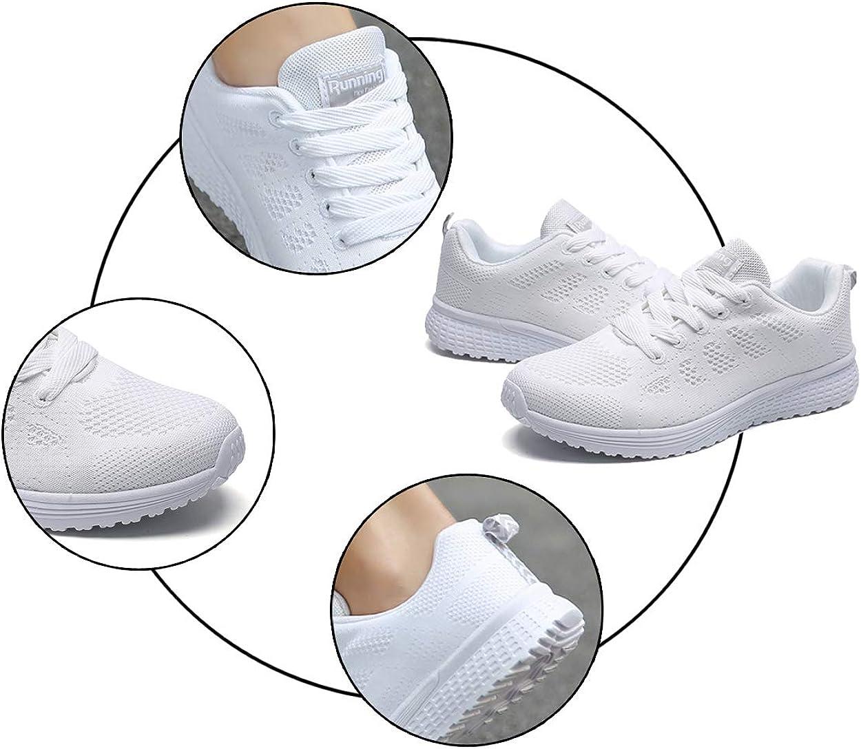 Decai Femmes Baskets Running Fitness Course Basses Athl/étique Marche Gym Filets Chaussures Respirant Maille /À Lacets Leger Sport Run Baskets Blanc Noir Rose 35-44 EU