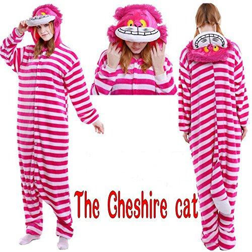 Unisex Adult Onesies Pyjamas Flannel Animal Cosplay Costume Hoodie Sleepwear Nightgown Cheshire Cat M