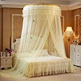 Bigger Bed Than a King Size rosy007 Princess Hanging Round(diamater=47.2inch) Extra Big Lace Canopy Bet Netting Mosquito Net for Crib Twin Full Queen Bed Yellow (Light Yellow)