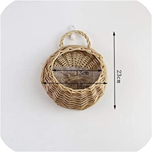 Wall Hanging Natural Wicker Flower Basket Flower Pot Planter Rattan Vase Basket Home Garden Wall Decoration Storage Container,A,L