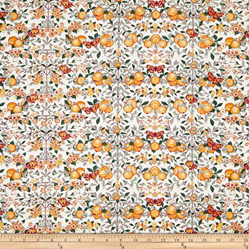 (Liberty of London Orchard Garden Orchard Natural/Peach Fabric Fabric by the Yard)