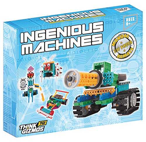 Robotic Kit For Kids – Ingenious Machines Remote Control Building Kits For Kids – TG633 Awesome Fun Build Your Own Robot Toy by ThinkGizmos (All batteries included) All Robots
