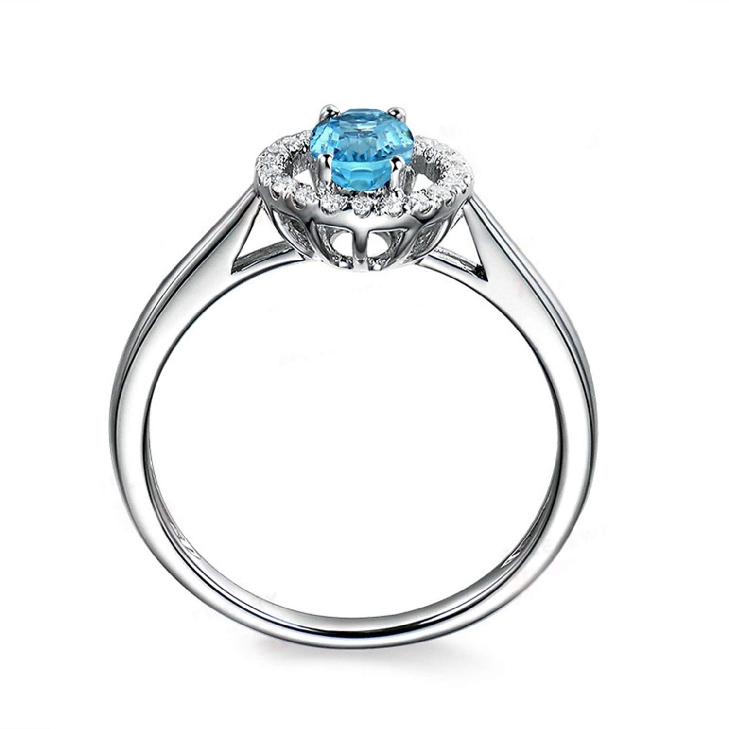 AMDXD Jewellery 925 Sterling Silver Promise Ring for Women Oval Cut Topaz Round Rings