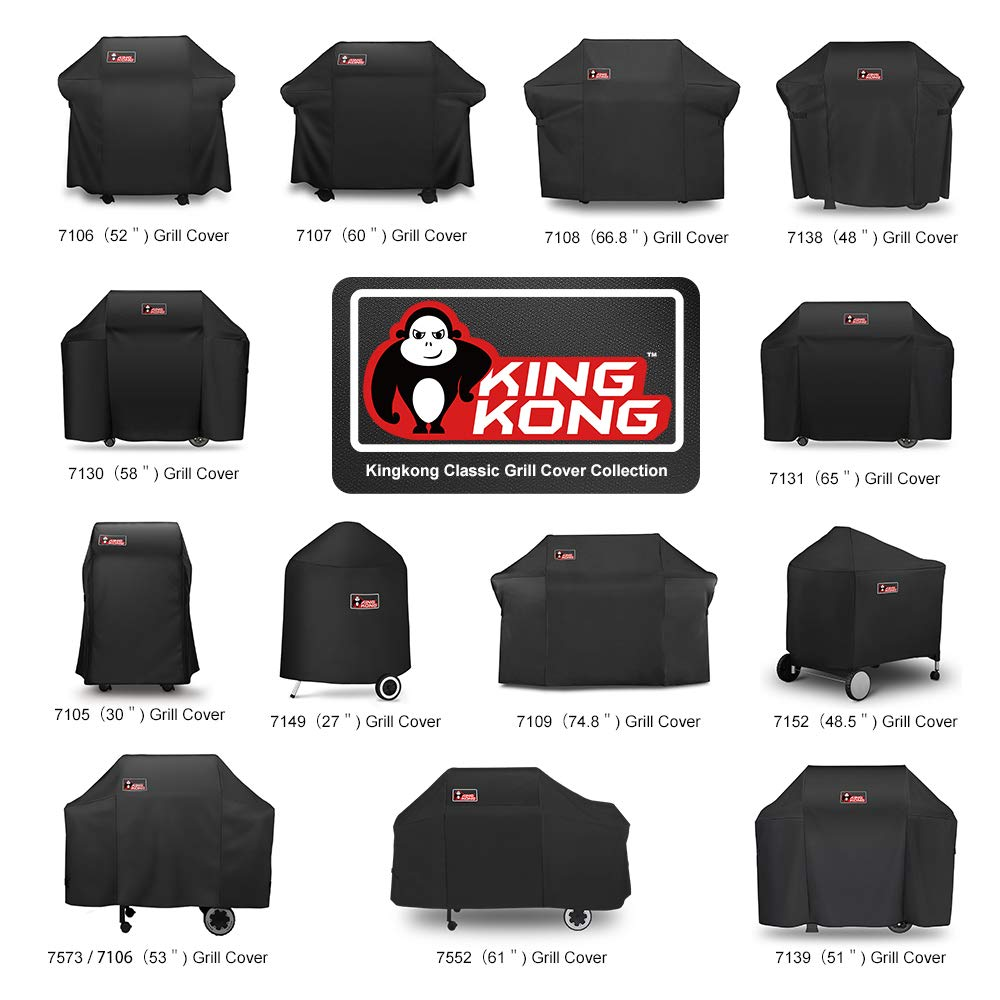 Kingkong Gas Grill Cover 7553 | 7107 Cover for Weber Genesis E and S Series Gas Grills Includes Grill Brush, Tongs and Thermometer by King Kong