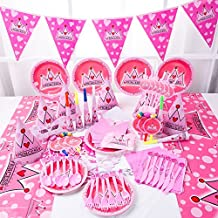 115+ Pcs Princess Pink Girls Birthday Party Supplies for Kids| Tableware Disposable Plates, Cups, Forks/Spoon/Knives, Straws | Napkins, Tablecloth, Blowouts, Masks, Cards, Hats, Banner, Gift Bags