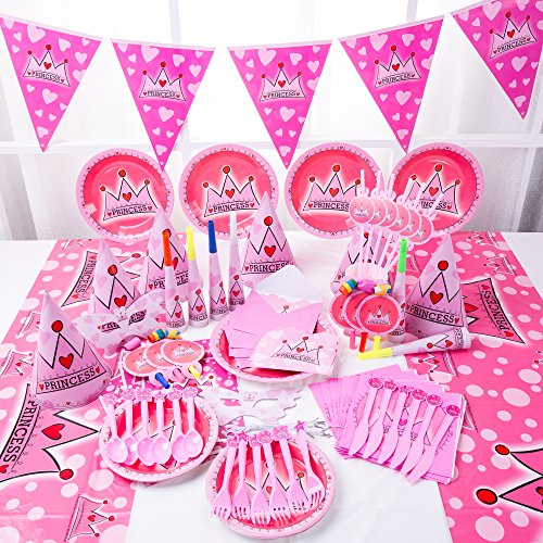 Princess Party Supplies - Pink Themed Decorations for Birthday Parties. Princess Decorative Masks for Girls, Hats, Invitations, Plates, Party Horns and More | Serves 6 -