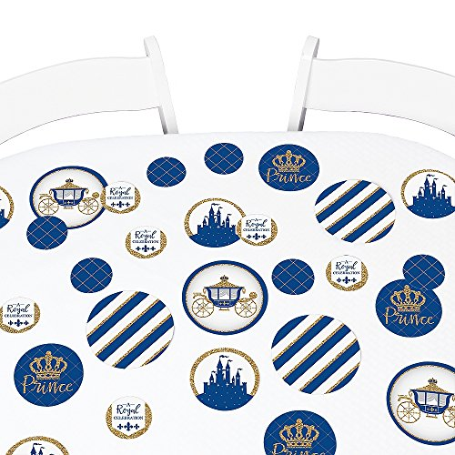 Big Dot of Happiness Royal Prince Charming - Baby Shower or Birthday Party Giant Circle Confetti - Party Decorations - Large Confetti 27 Count