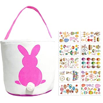 2 x Easter Bunny In Bucket Gift Bag Fun Candy Bag Assorted Colours