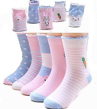 zhaoaiqin 5 Pares, Calcetines para niños, Calcetines de algodón de Primavera y otoño,