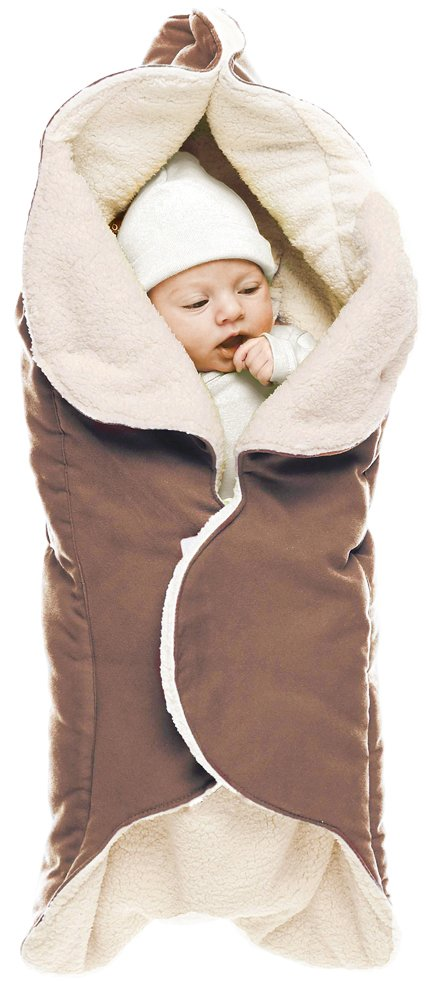 Wallaboo Baby Blanket Cozy Faux Suede with Thick Shearling Lining, Chocolate