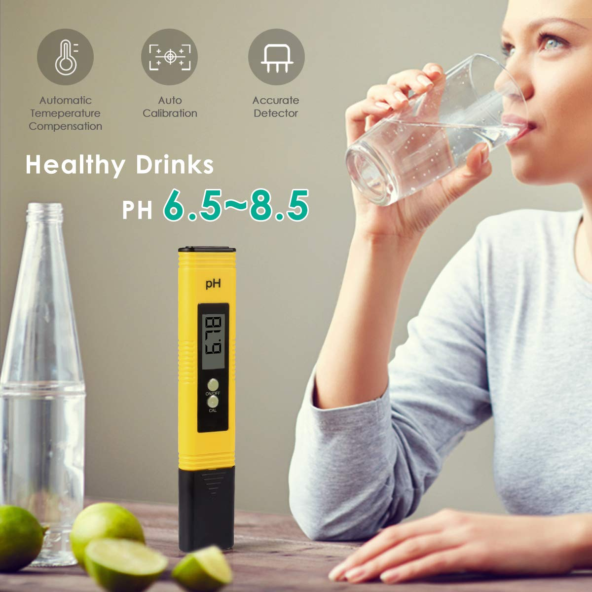 Water Quality Tester with Calibration Solution Powder PH Accuracy 0.01 Measurement for 0-14 Measurement Range for Household Drinking,Food Brewing,Hydroponics,Aquariums,Pools,Spa,Lab Digital PH Meter