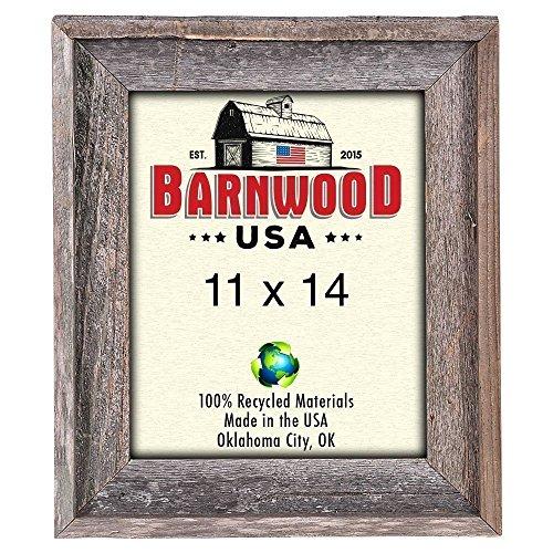 BarnwoodUSA Rustic 11x14 Inch Signature Photo Frame - 100% Reclaimed Wood, Weathered (Money Photo Charm)