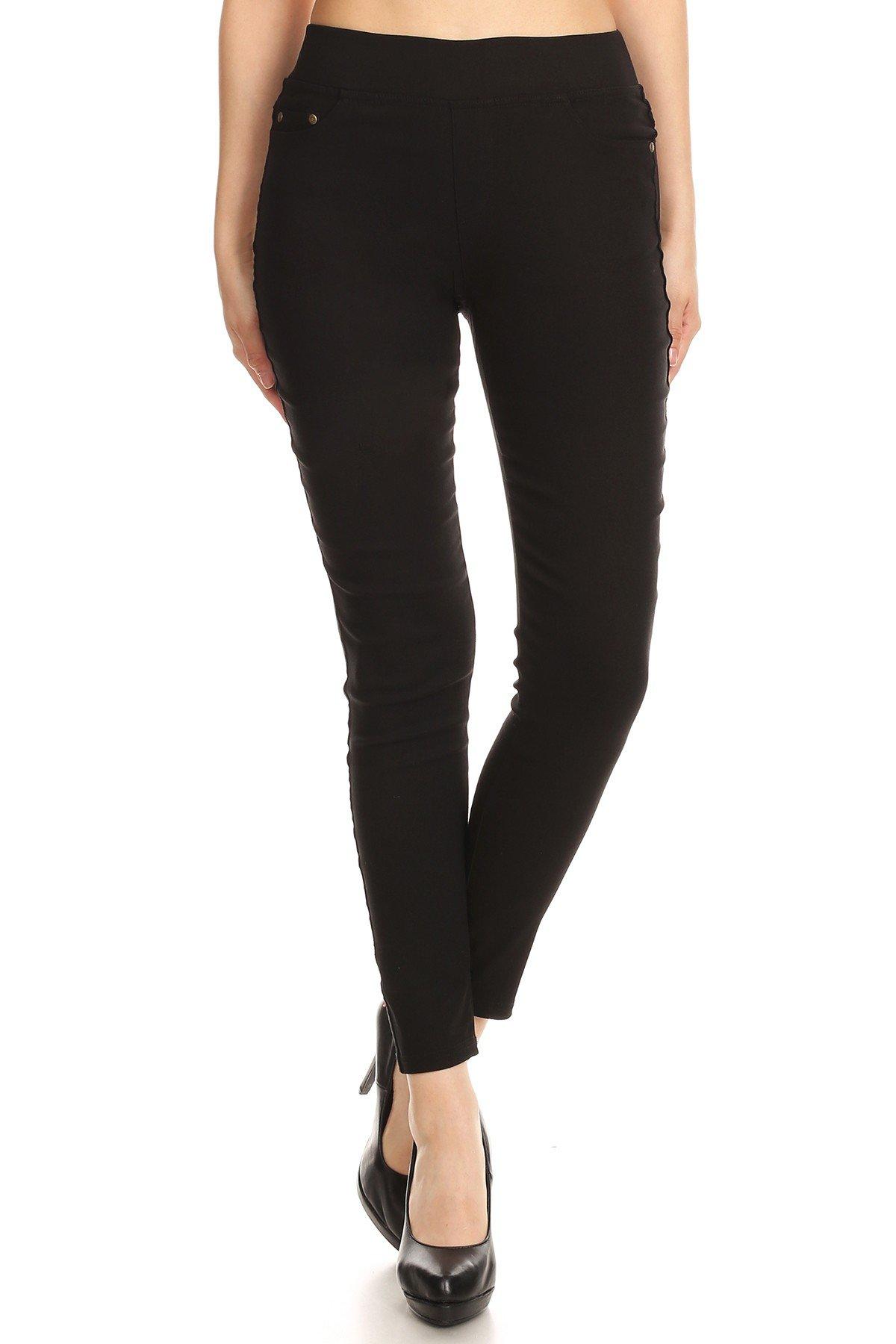 MissMissy Women's Casual Color Denim Slim Fit Skinny Elastic Waist Band Spandex Jeggings Ankle Jeans Pants (Large, Black)