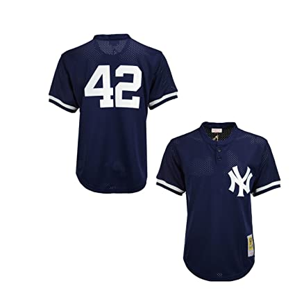 ce64bf49d Mitchell   Ness Mariano Rivera Navy New York Yankees Authentic Mesh Batting  Practice Jersey Medium (