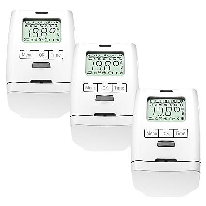 Conjunto de 3 programable para radiadores-termostato (ahorro de energía) HT 2000 unidades modelo silencioso, juego de 3 habitaciones, versión Premium con ...