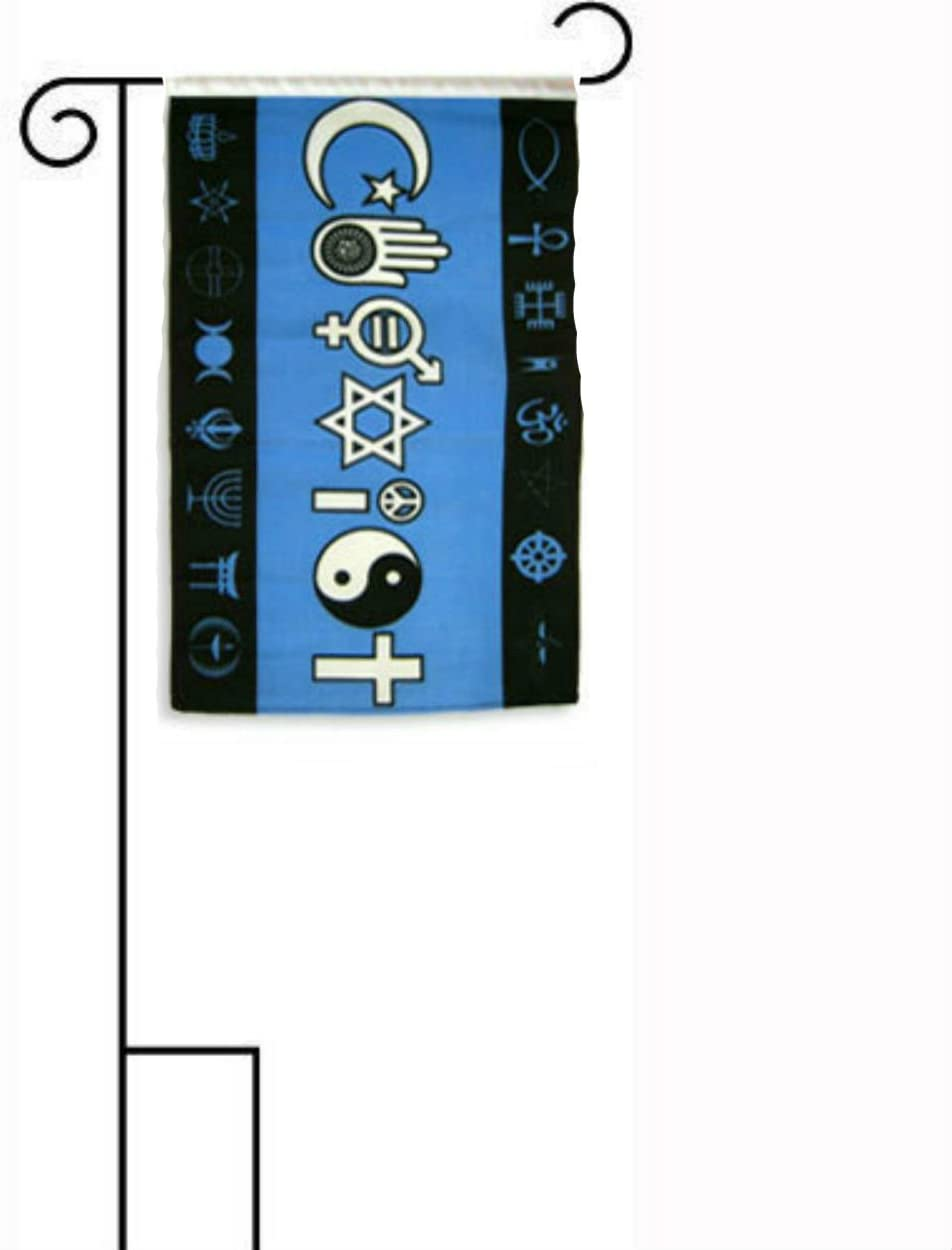 "12""x18"" Coexist Black Blue Sleeved Polyester Flag with Garden Stand"