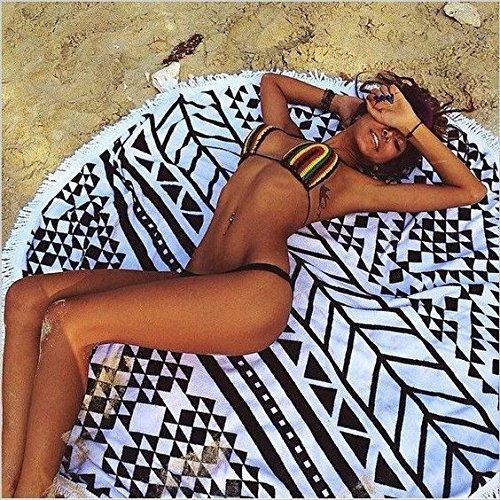 GreForest-Anti-Saison Verkäufe-2016 neue Modische Sommer schwarz und weiße große baumwolle gedruckte runde Strandtücher mit Fransen XXL