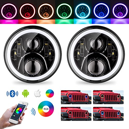 "LED Headlights For Jeep Wrangler DOT Approved 7"" RGB Halo JK Rubicon Sahara Car Accessories Parts Round Shape Black Angel Eyes Lights Bluetooth Phone APP Controlled 2007-2018 (LDMT-002)"
