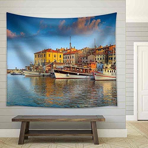 Beautiful Romantic Old Town of Rovinj and Famous Fishing Harbor with Magical Sunset Istrian Peninsula Croatia Europe Fabric Wall