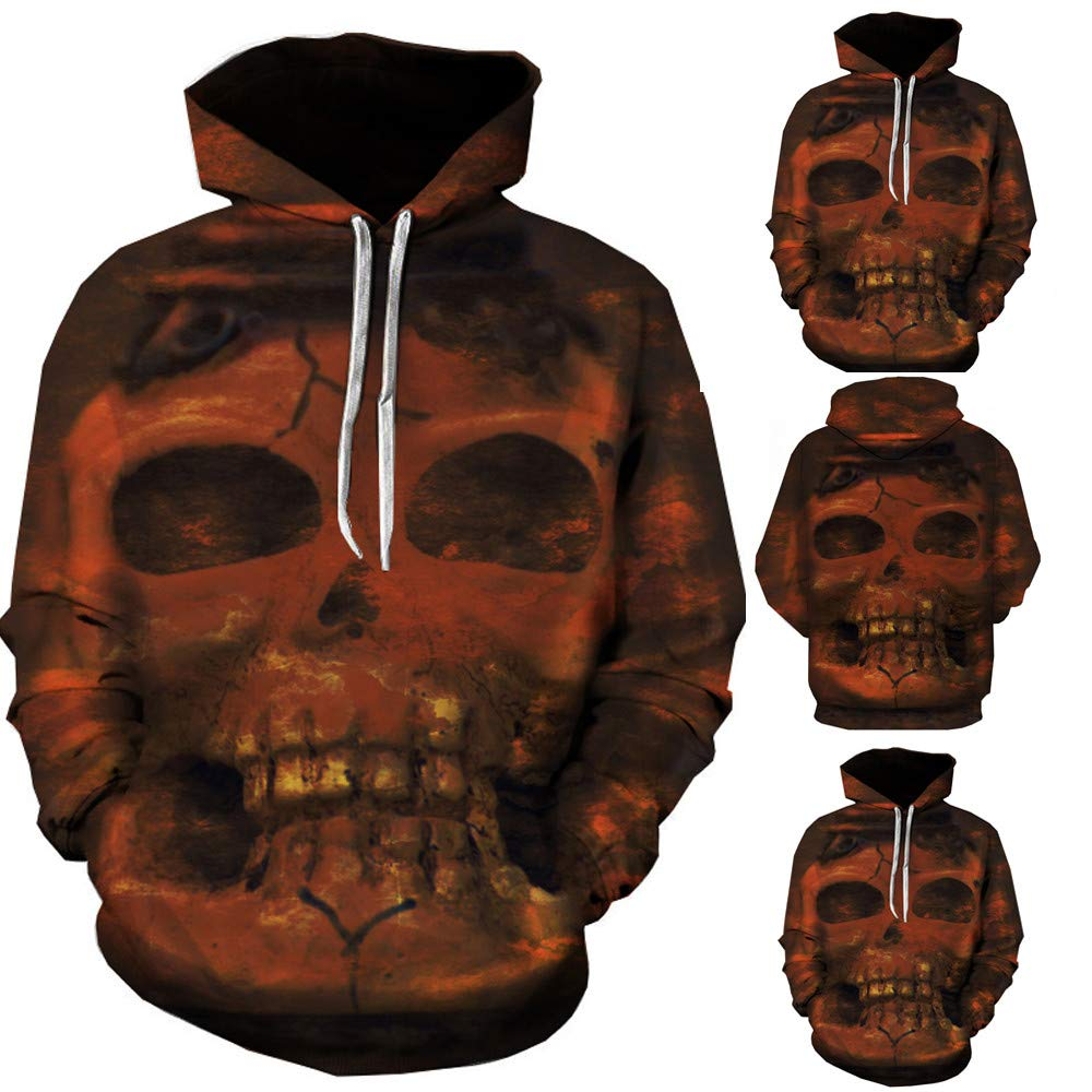 Yutao Unisex Party Hoodies Novelty Skull Grim Reaper Print Pullover Sweatshirt Hoodies